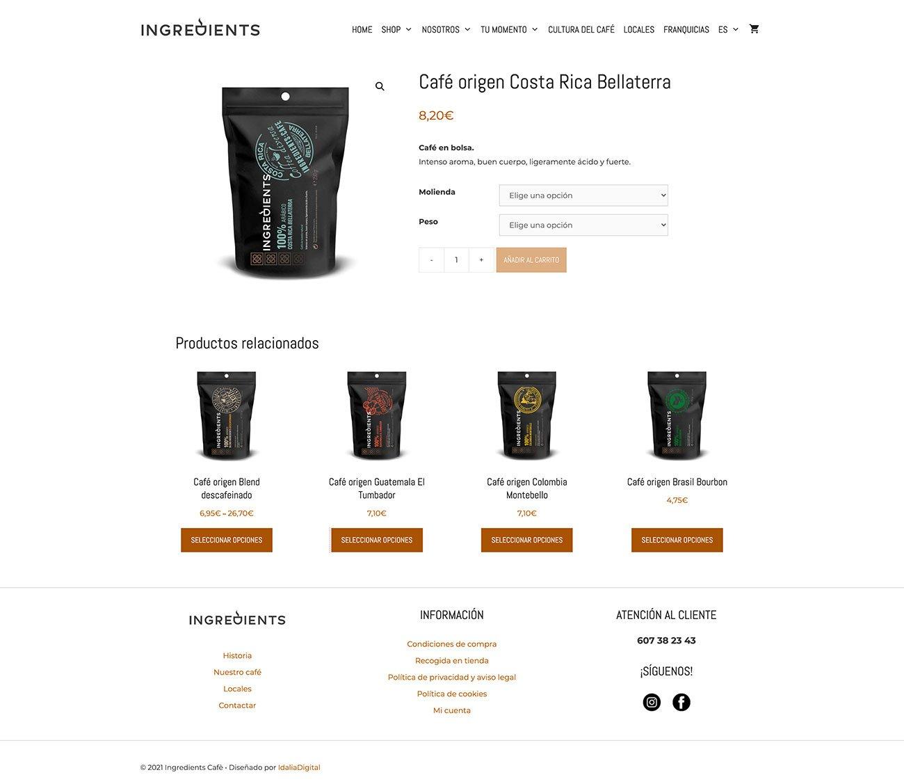 Compra Online ingredients café