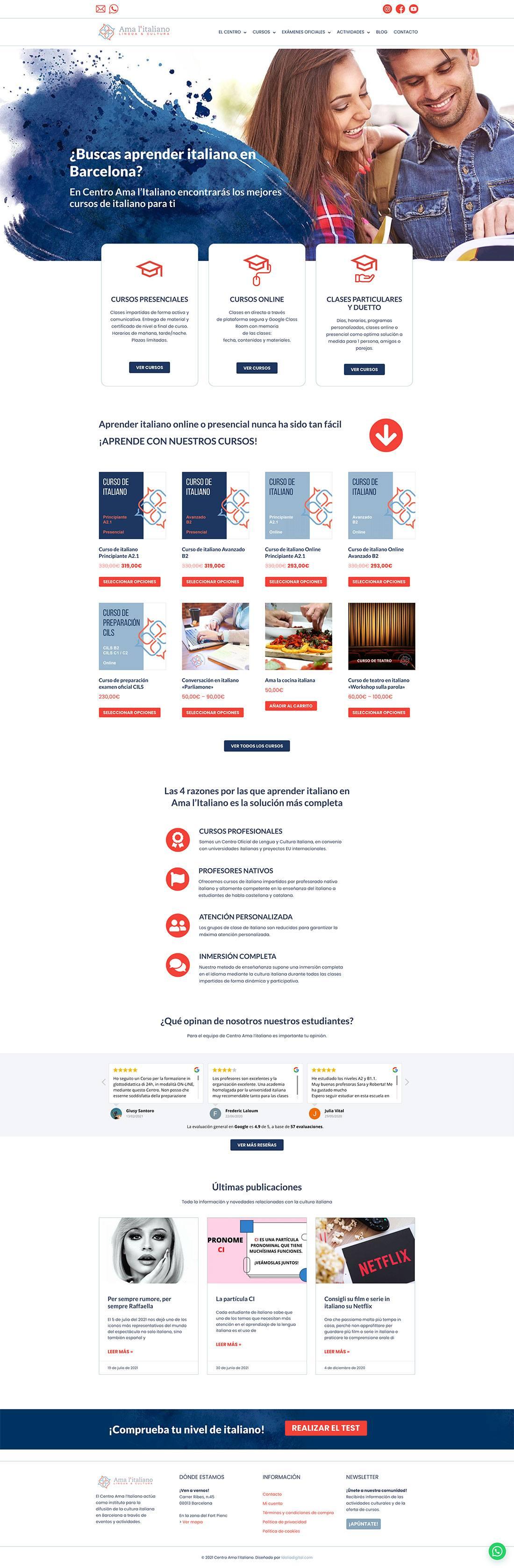 Página web Centro Ama l'italiano