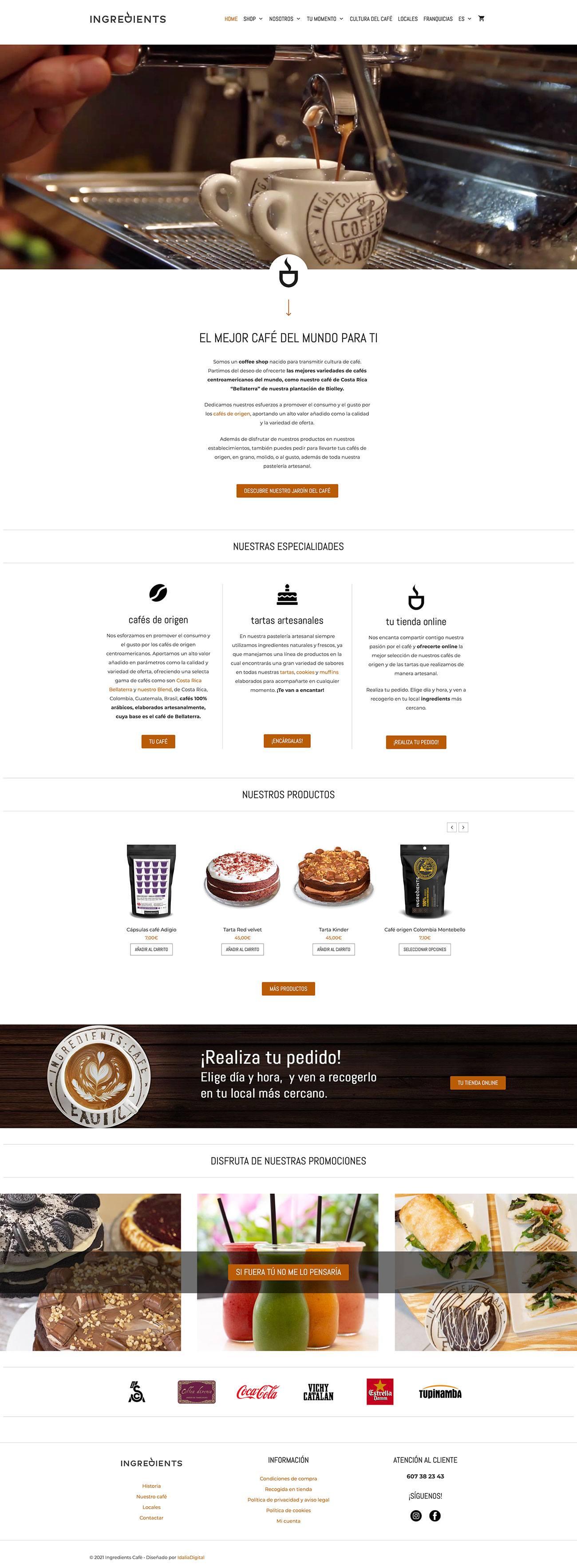 Página web ingredients café