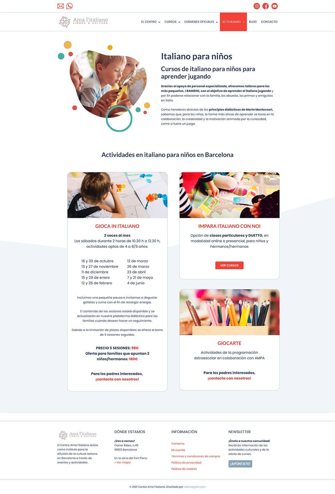 Sitio web Centro Ama l'italiano