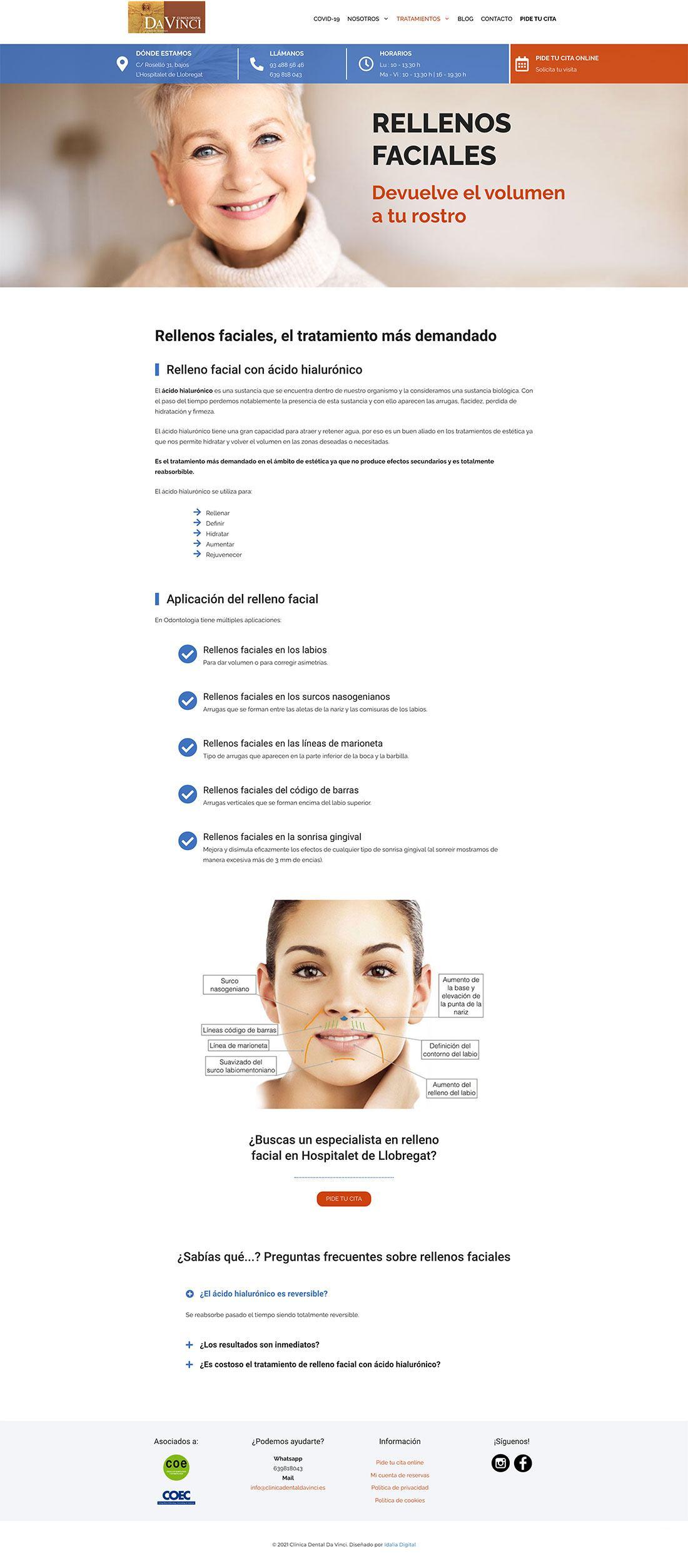 Sitio web Clínica dental da vinci